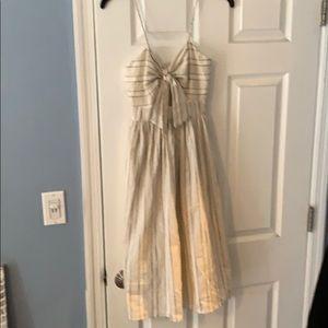 Zara linen front knit dress